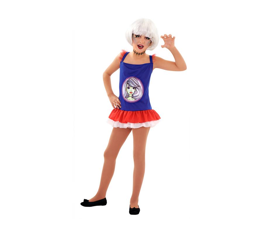 Disfraz de Gothic Monster para niñas de 5 a 6 años. Incluye vestido. Peluca NO incluida, podrás verla en la sección de Complementos.