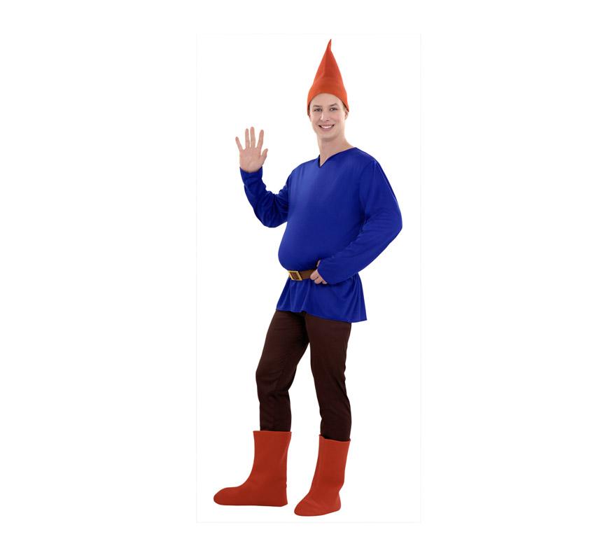 Disfraz de Gnomo o Enanito azul para hombre. Talla M-L = 52/54. Incluye pantalón, camiseta cinturón, gorro, botas y barriga.
