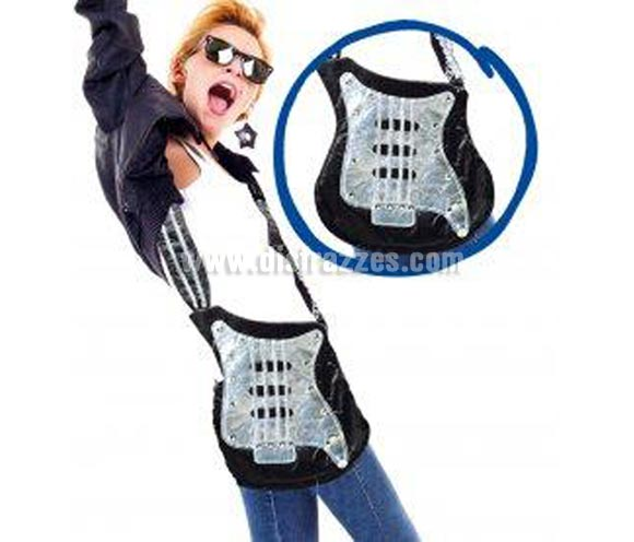Bolso con forma de Guitarra muy original. Ideal como complemento de tu disfraz de Punk, Rock, o incluso Hippie.
