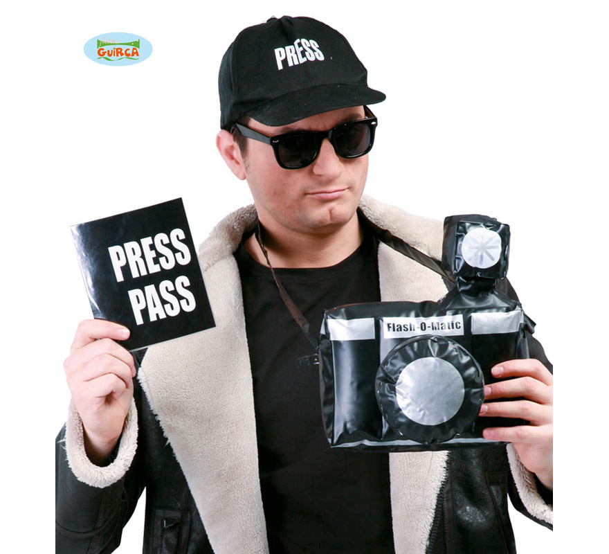 Set o Conjunto de Reportero o Paparazzi 3 piezas. Incluye cámara hinchable, gorra y libreta.
