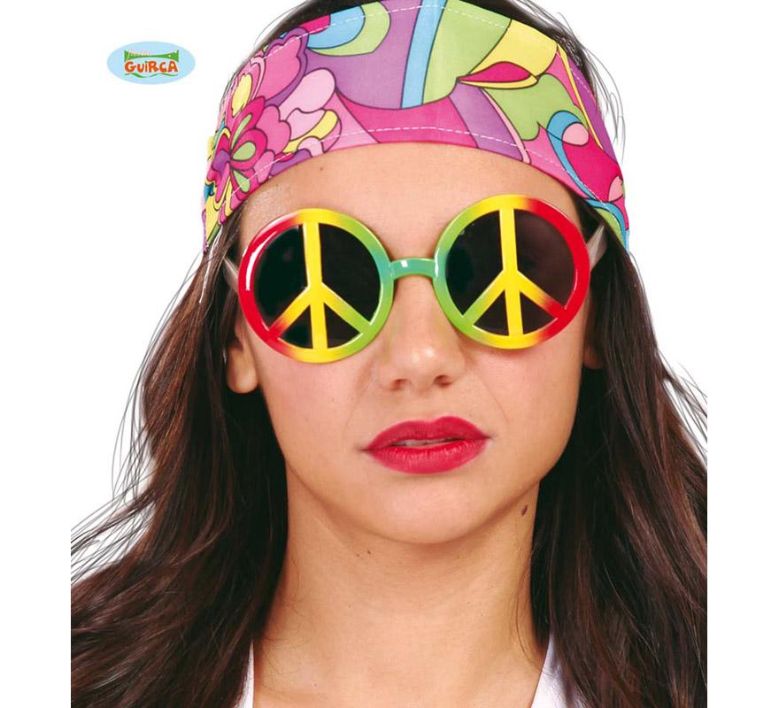 Gafas de Hippie Multicolor con el símbolo de la Paz.