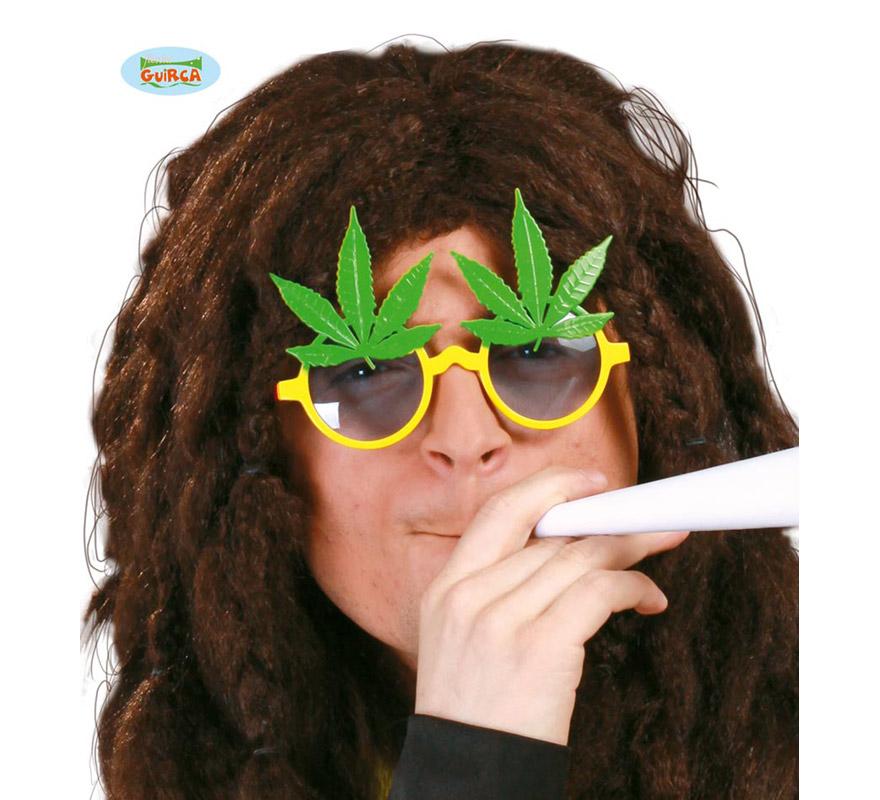 Gafas de Rastafari con hojas de Marihuana. Perfectas para disfrazarse de Bob Marley.