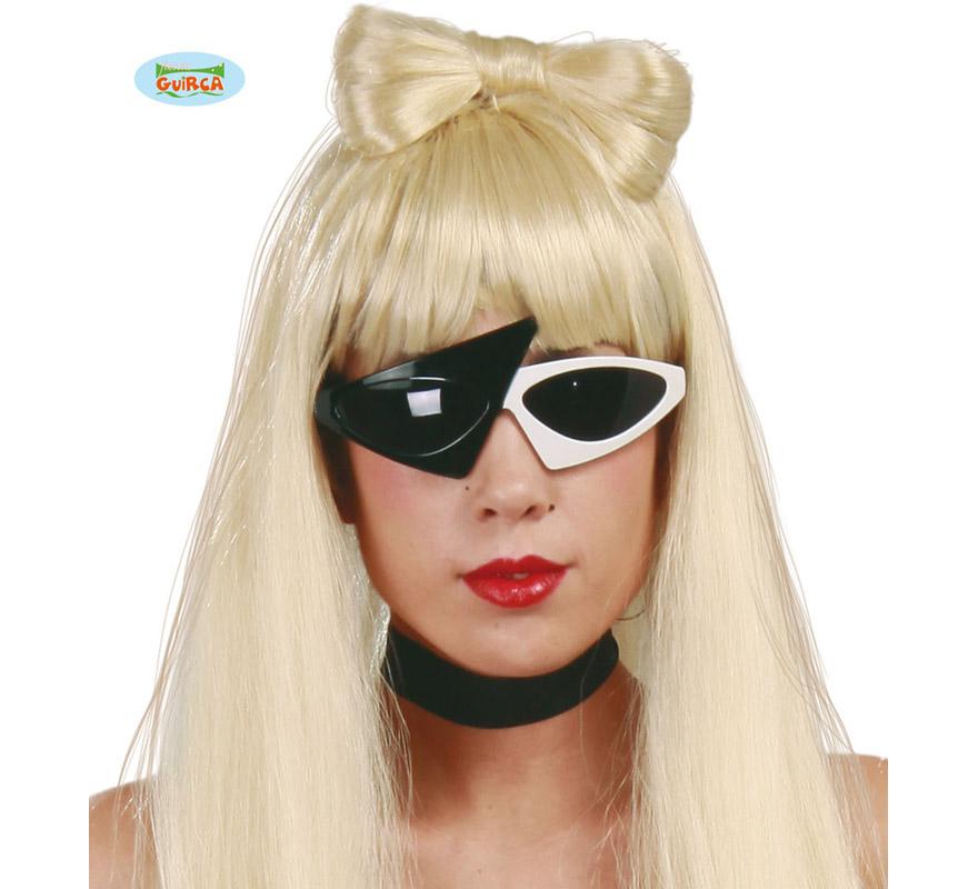Gafas Pop Star blancas y negras. Con éstas gafas podrías imitar a la Fantástica Lady Gaga.