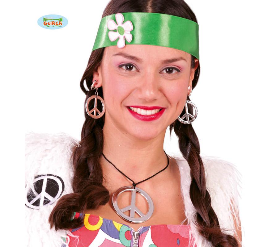 Conjunto Hippie de collar y pendientes con el símbolo de la Paz.