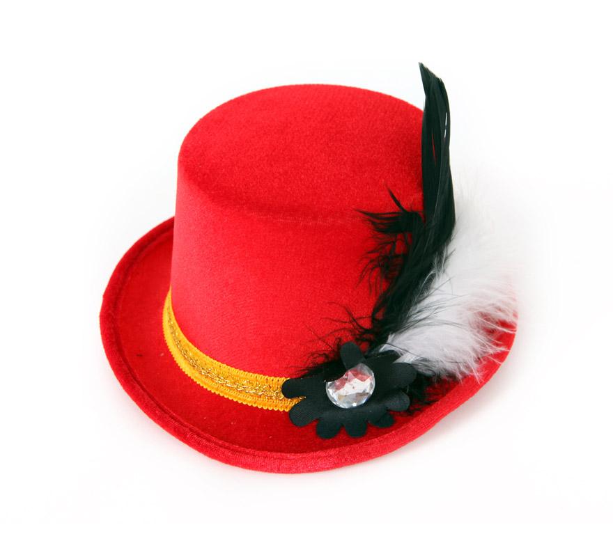 Mini Sombrero de Copa o Chistera rojo con pluma y broche.