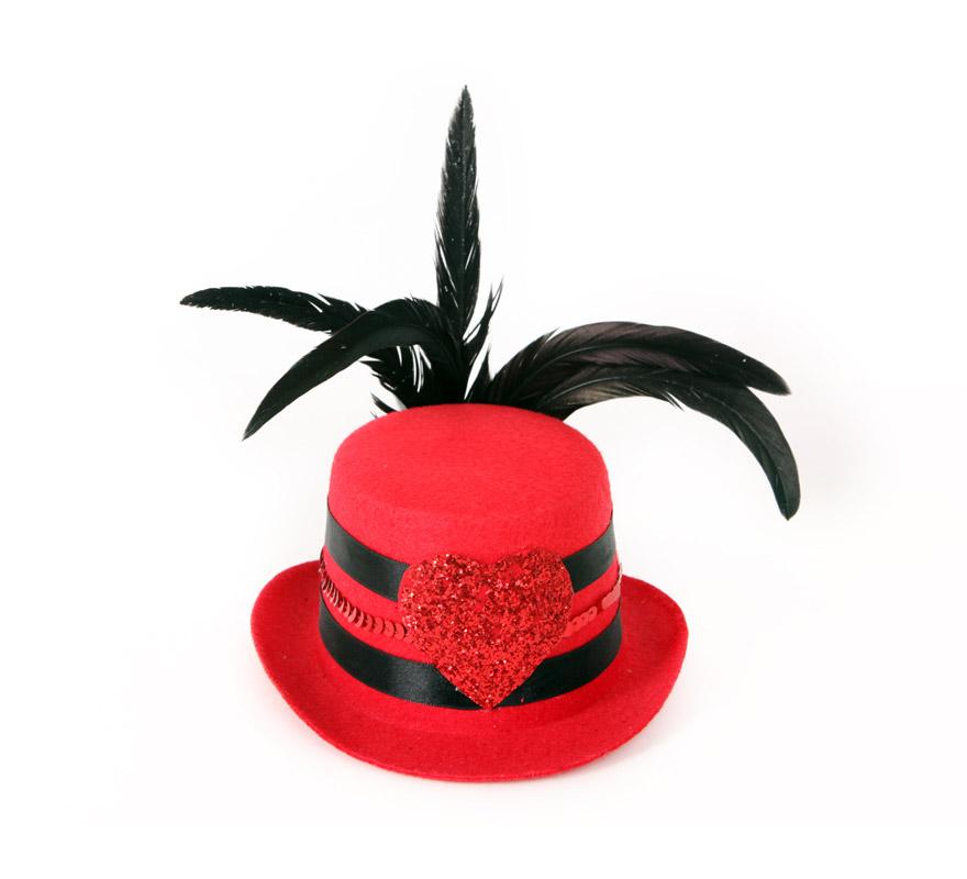 Mini Sombrero de Copa o Chistera rojo con pluma negra y corazón.