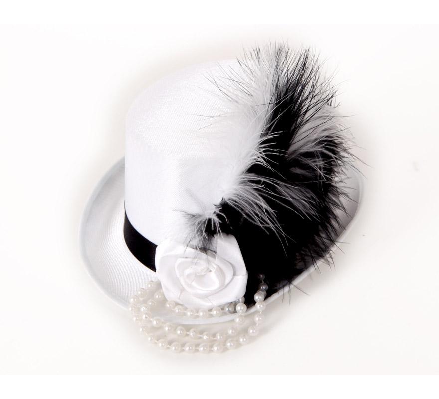 Mini Sombrero de Copa o Chistera blanco con perlas y rosa.