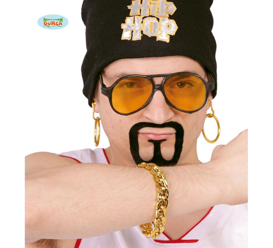 Conjunto Hip-Hop de pendientes y pulsera imitación oro.