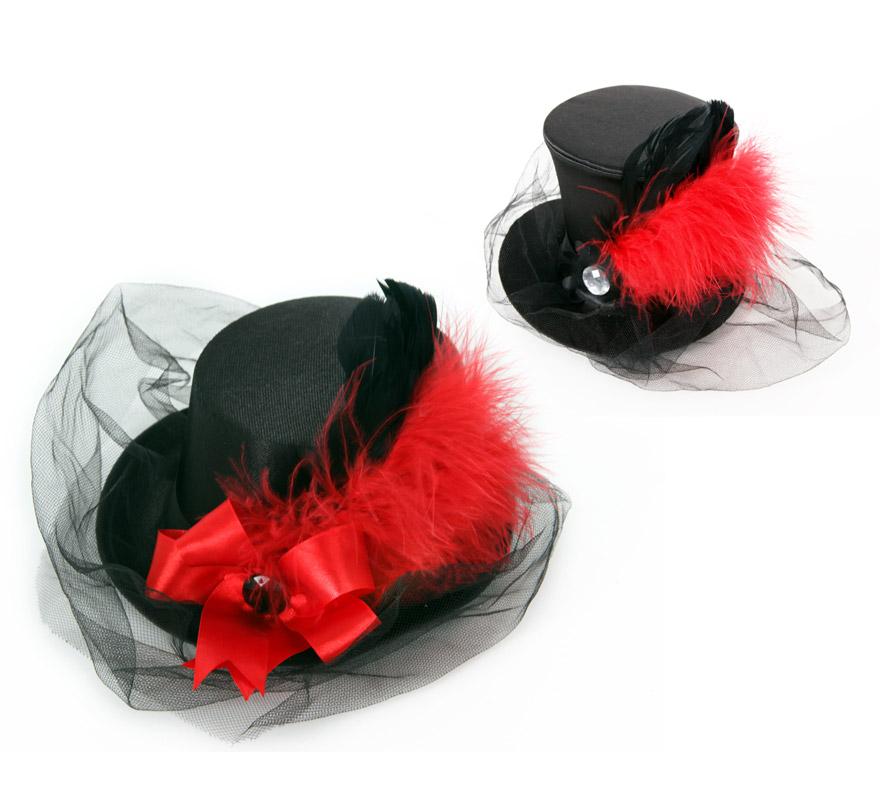 Mini Sombrero de Copa o Chistera negro con pluma y velo.