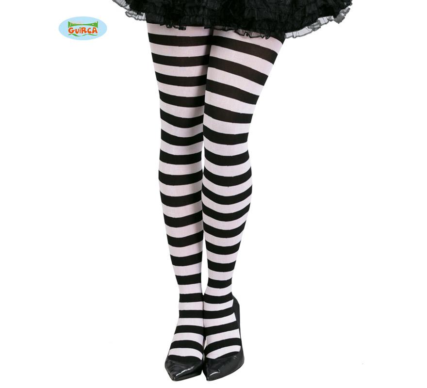 Pantys a rayas blancas y negras. Perfectas para los disfraces de Presidiaria o Prisionera, también quedan perfectas con los disfraces de Esqueleto de Halloween.