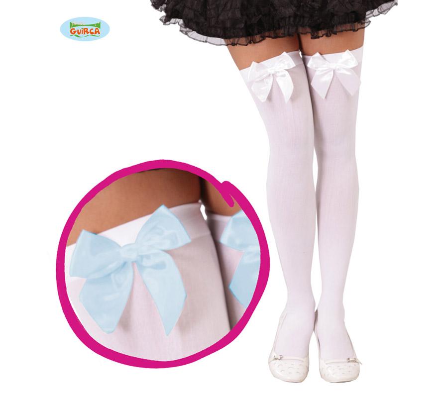 Medias de lazos azules o blancos. Perfectas para el disfraz de Dorothy o de Alicia en el País de las Maravillas. Las hay con el lazo blanco y con el lazo en azul.