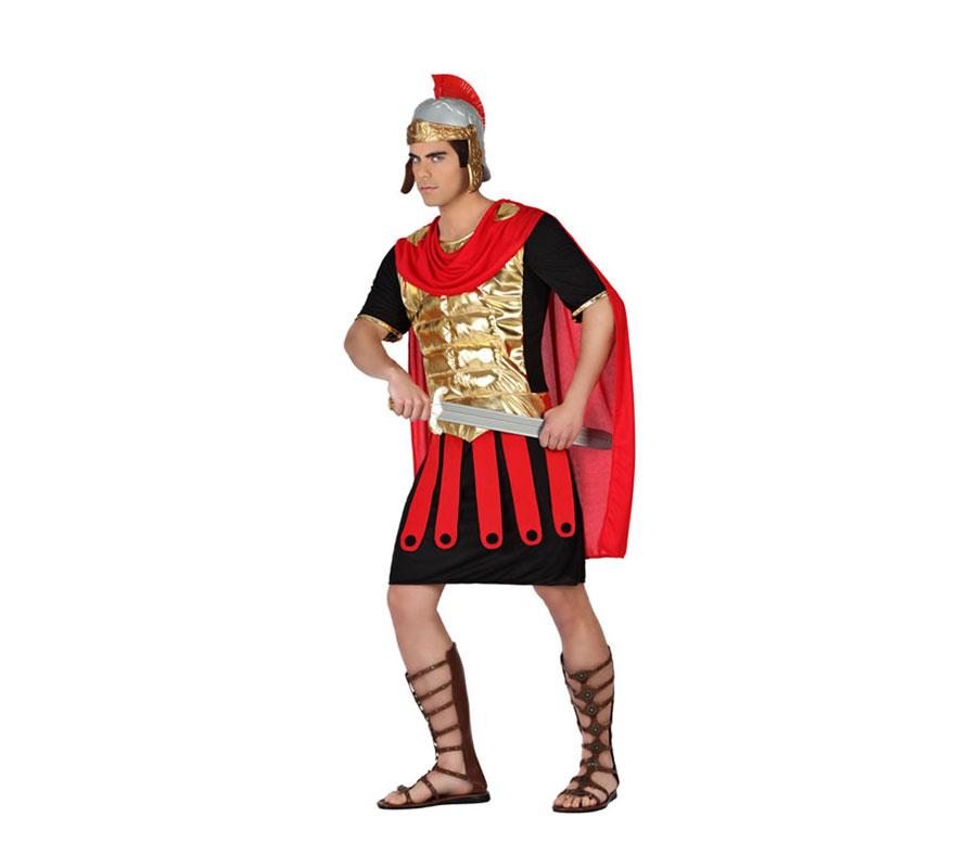 Disfraz para hombre de Guerrero Romano o Gladiador. Talla XL = 54/58. Incluye túnica con capa. Casco, espada y sandalias NO incluido, podrás encontrarlo en la sección de Accesorios.