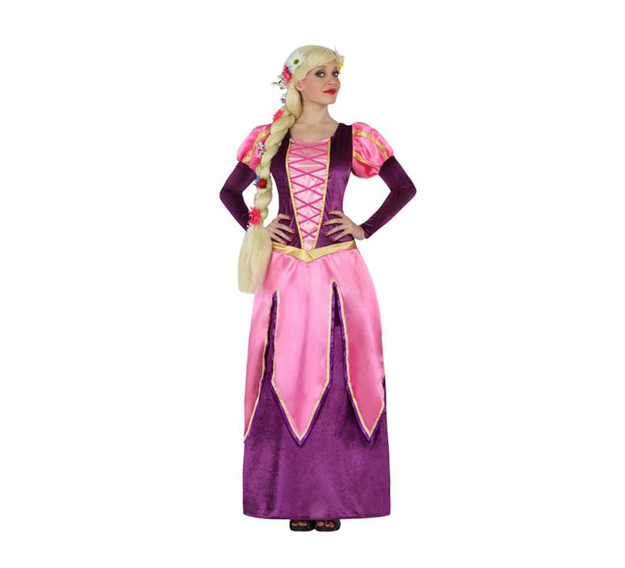 Disfraz de Reina Medieval rosa y lila para mujer. Talla S = 34/38 para chicas delgadas y adolescentes. Incluye vestido. Peluca NO incluida, podrás encontrarla en nuestra sección de Accesorios. Perfecto para Fiestas o Ferias Medievales. Con éste disfraz te parecerás a Rapunzel.