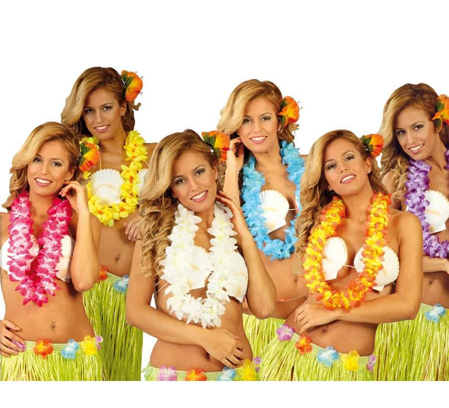 Collar Hawaiano extra de flores colores surtidos de tela. Precio por unidad, se venden por separado.