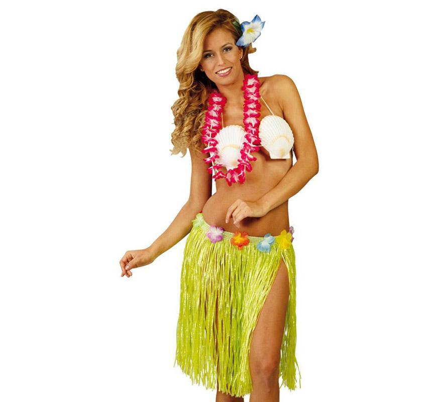 Falda Hawaiana con flores en la cintura de 45 cm colores surtidos . Precio por unidad, se venden por separado. Perfecta para hacer Fiestas de Hawai en Verano.