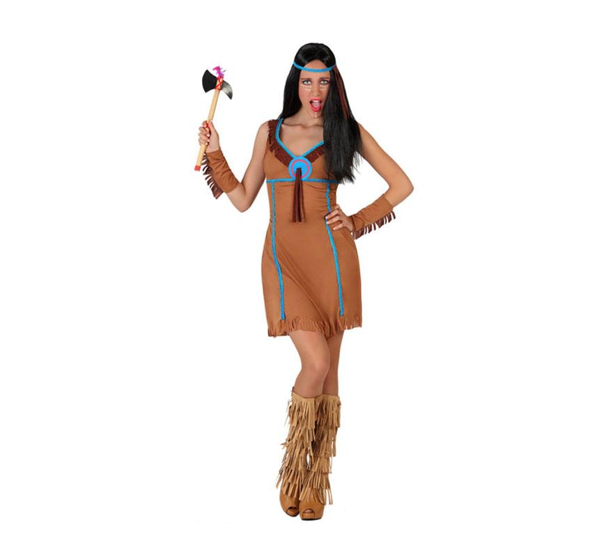Disfraz para mujeres de India con broche azul. Talla M-L = 38/42. Incluye vestido, brazaletes y cinta de la cabeza. Hacha y cubrepies NO incluido. La Hacha la podrás ver en la sección de Accesorios.