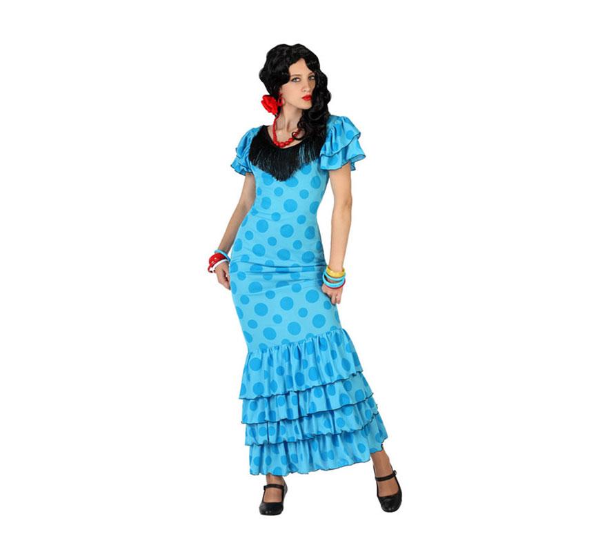 Disfraz de Flamenca Azul para mujer. Talla S = 34/38 para chicas delgadas o adolescentes. Incluye vestido. Resto de complementos NO incluidos, podrás encontrarlos en nuestra sección de Accesorios. Disfraz de Sevillana o Gitana perfecto para la Feria de Abril o para una Fiesta Andaluza.
