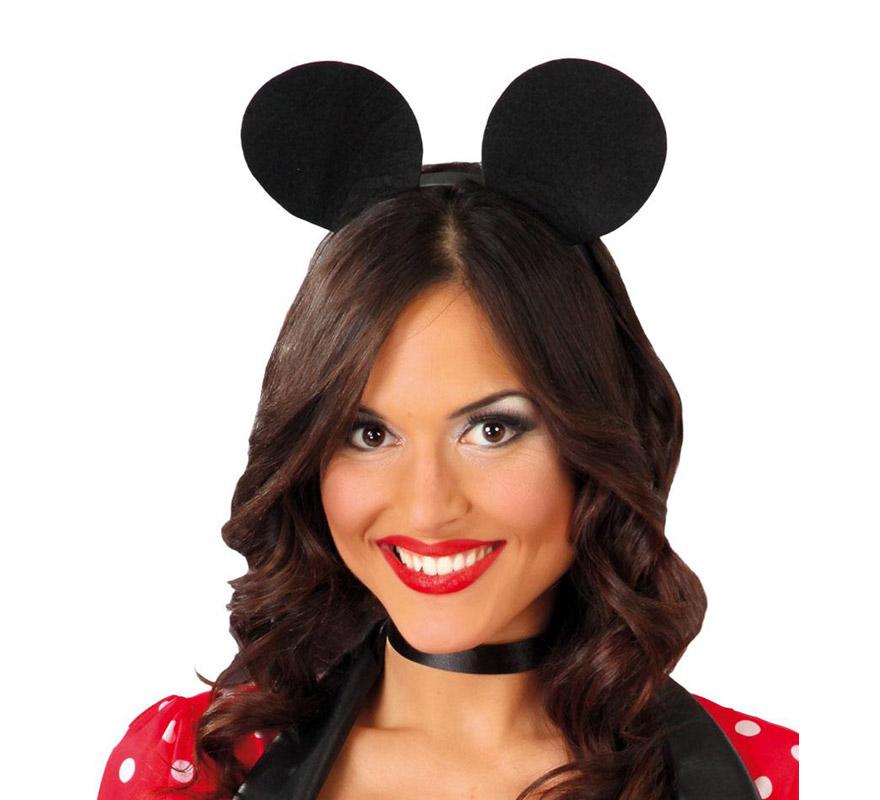 Diadema de Ratón de fieltro. Ideal para disfrazarse de Mickey o Minnie.