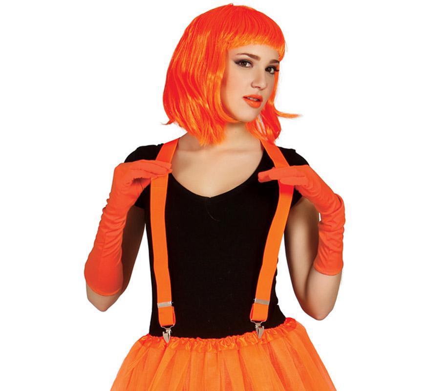 Tirantes de color naranja neón. Ideal para los disfraces de Payaso, Rock y Punk.