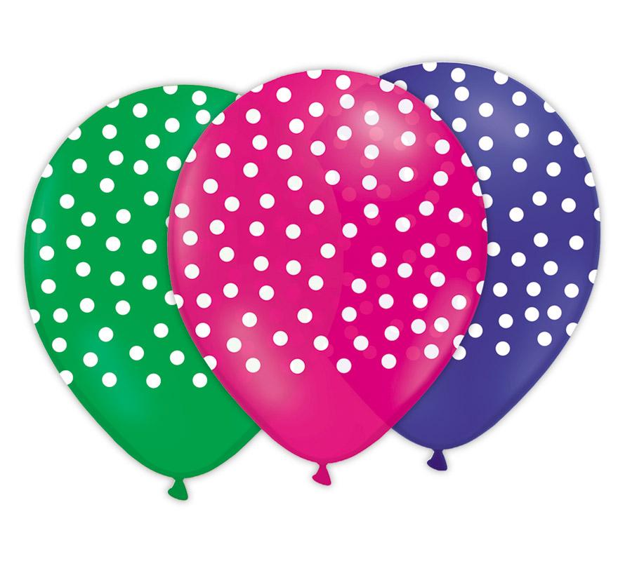 Bolsa con solapa de 10 globos de 29 cm Ø colores variados con impresión LUNARES. Marca Gran Festival.