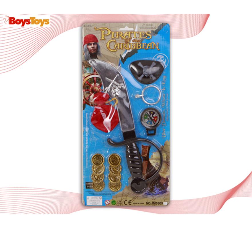 Set de accesorios de Pirata. Contiene varios artículos ideales para disfraces de Piratas.