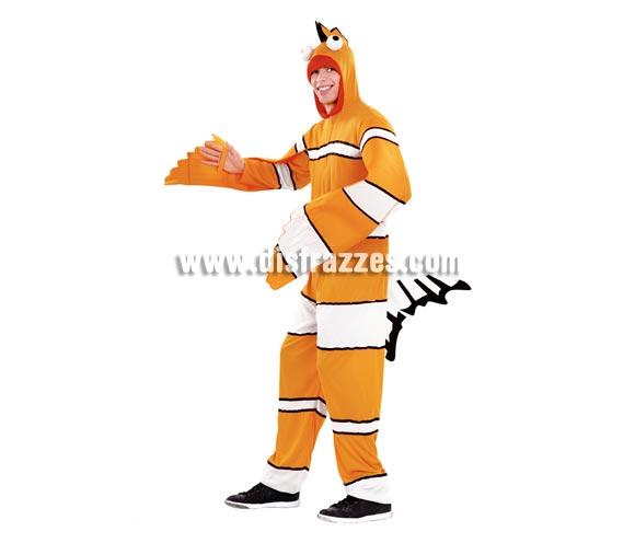Disfraz de Pez Payaso para adultos talla M-L. Incluye mono con gorro. Disfraz de Nemo para adultos.
