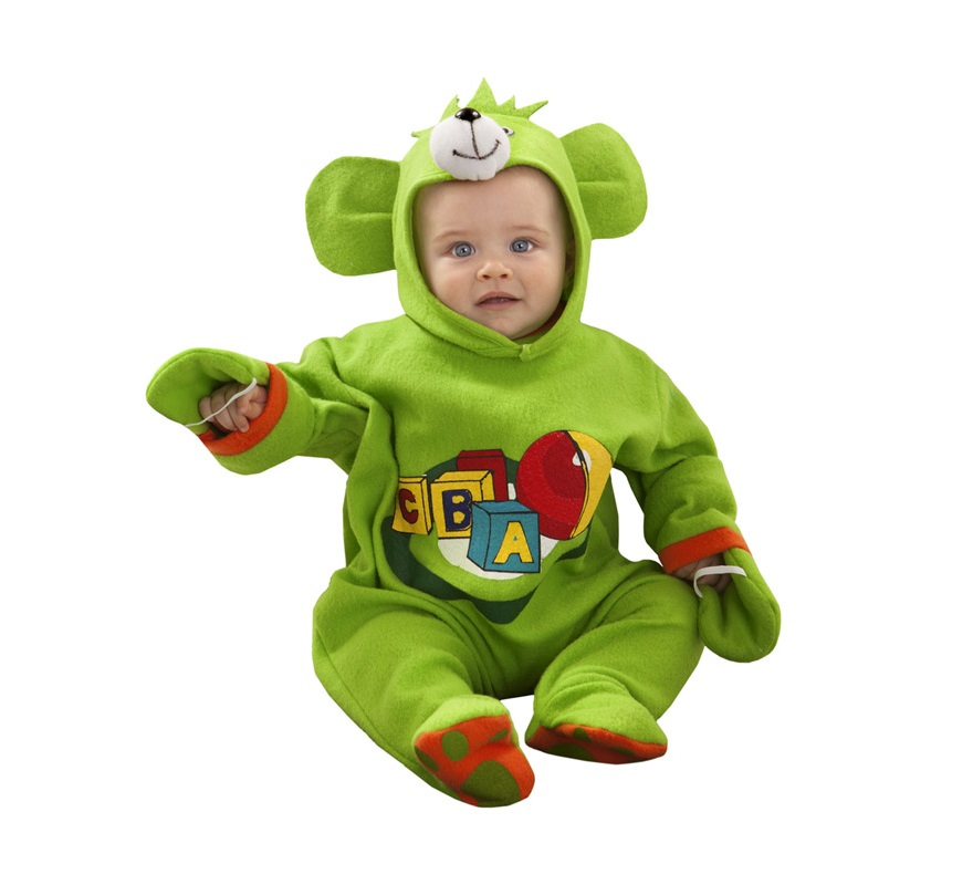 Disfraz de Osito Juego verde para bebés de 6 a 12 meses. Incluye mono y gorro.