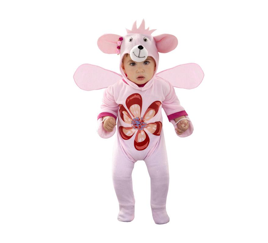 Disfraz de Osito Flor rosa para bebés de 6 a 12 meses. Incluye mono y gorro.
