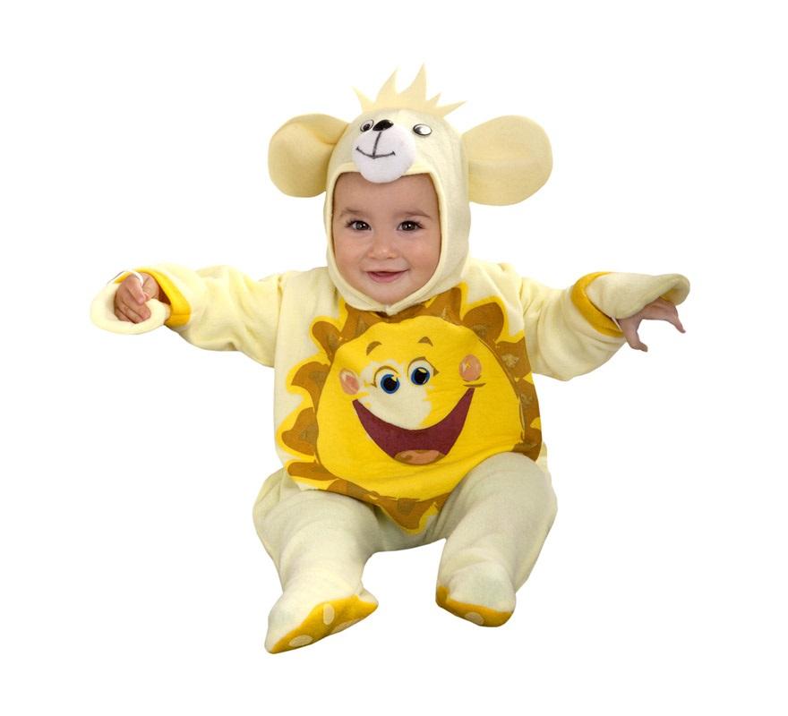 Disfraz de Osito Sol amarillo para bebés de 6 a 12 meses. Incluye momo y gorro.