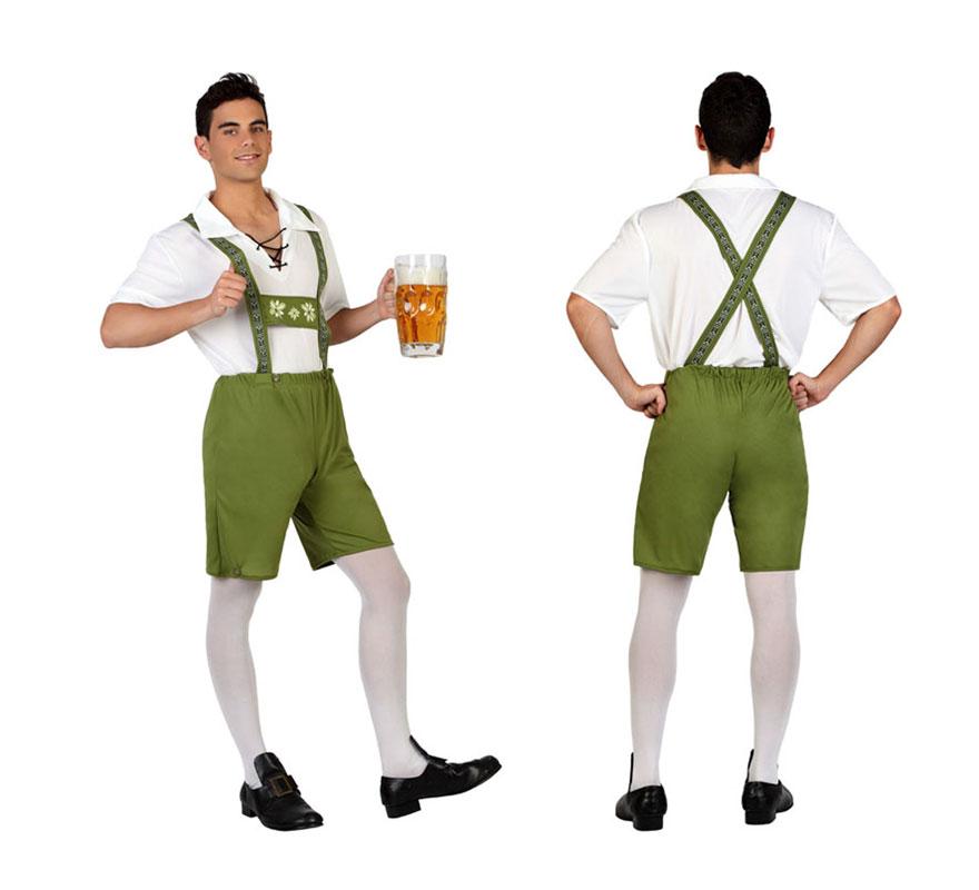 Disfraz para hombres de Alemán o Tirolés. Talla S = 48/52 para chicos delgados y adolescentes. Incluye camiseta y pantalones cortos con tirantes. Completa tu disfraz de Bávaro con artículos de nuestra sección de accesorios como gafas, sombrero y peluca. Perfecto para la Fiesta de la Cerveza del Oktoberfest y San Patricio.