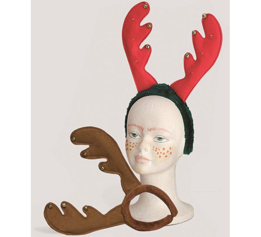 Diadema de Reno con cascabeles. Ideal para Navidad.