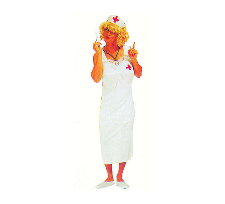 Disfraz de Enfermera Hombre Adulto Económico. Talla standar M-L = 52/54. Incluye vestido y cofia.  Un disfraz ideal para Despedidas de Soltero.