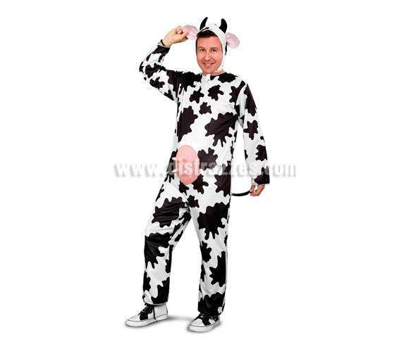 Disfraz barato de Vaca adulto para hombre. Talla única 52/54. Incluye mono y gorro. Un disfraz ideal para Despedidas de Soltero. Un disfraz Muuuuuuuuuuy guapo.