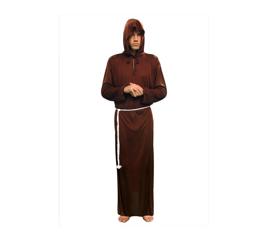 Disfraz de Monje adulto. Talla standar M-L = 52/54. Incluye túnica con capucha y cordón. También podríamos llamarle traje de Fraile o Franciscano que también sirve para Halloween sobre todo con un buen maquillaje.