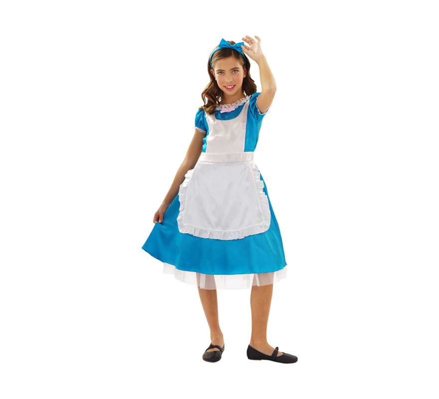 Disfraz de Alicia para niñas de 7 a 9 años. Incluye vestido y tocado. Precioso disfraz de Alicia en el que las niñas podrán jugar a imitar a Alicia en el País de las Maravillas.