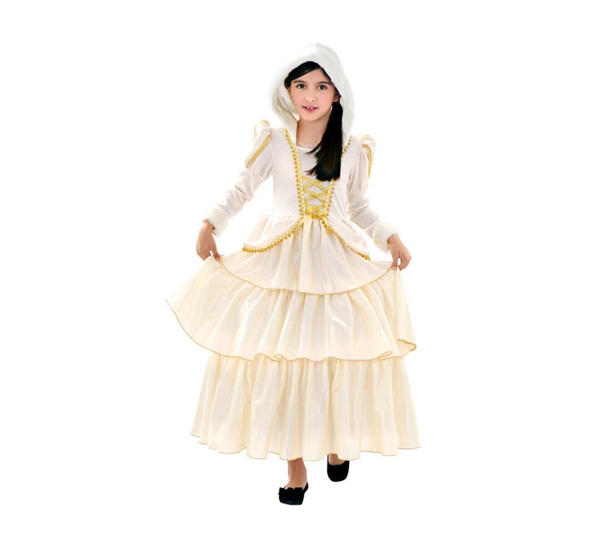 Disfraz de Princesa de las Nieves para niñas de 5 a 6 años. Incluye vestido con capucha.