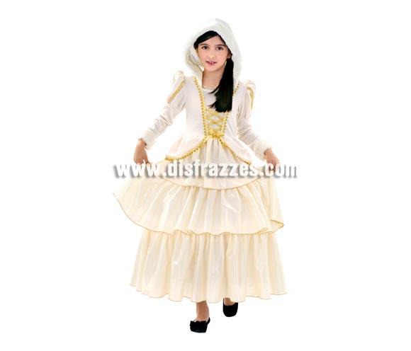 Disfraz de Princesa de las Nieves para niñas de 10 a 12 años. Incluye vestido con capucha.