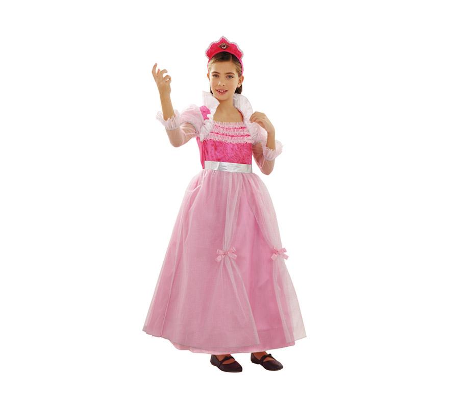 Disfraz de la Bella Durmiente Rosa para niñas de 7 a 9 años. Incluye vestido y diadema.