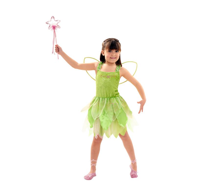 Disfraz de Hada verde para niñas de 5 a 6 años, Incluye vestido y alas. Varita NO incluida, podrás ver en la sección de Complementos.