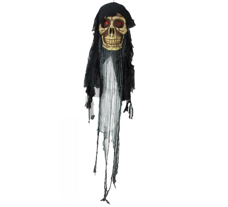 Colgante de Calavera con luz para decoración de Halloween. Medida total del artículo = 170 cm.