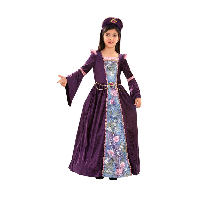 Disfraz de Princesa Renacimiento para niñas de 7 a 9 años. Incluye vestido y tocado. Tela de terciopelo.