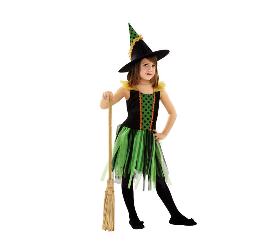 Disfraz de Bruja falda verde para niñas de 5 a 6 años. Incluye vestido y sombrero. Escoba NO incluida, podrás verla en la sección de Complementos.