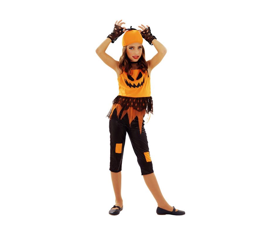Disfraz de Calabaza Punky para niñas de 7 a 9 años. Incluye vestido, leggins, sombrero y guantes. Un disfraz muy original y diferente para Halloween.