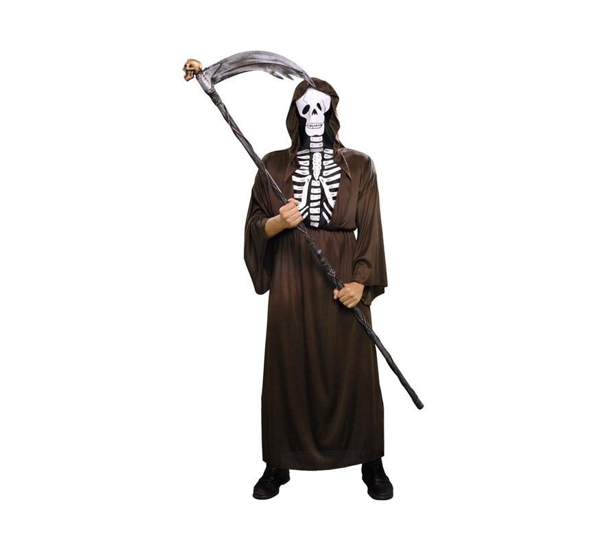 Disfraz de Esqueleto adulto para Halloween. Talla Standar M-L = 52/54. Disfraz super barato de Halloween que incluye traje y cinturón. Guadaña NO incluida, podrás verla en la sección de Complementos.