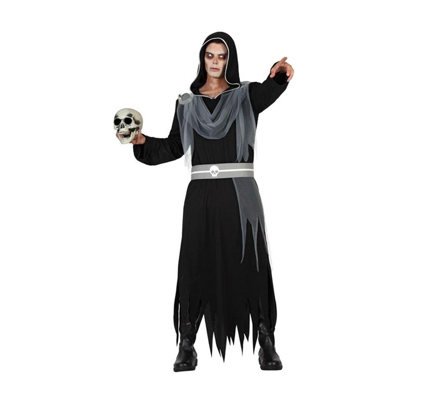 Disfraz para hombre de Señor del Infierno para Halloween. Talla S = 48/52 para chicos delgadas y adolescentes. Incluye túnica con capucha y cinturón. Completa el disfraz con complementos de nuestra sección de Accesorios.