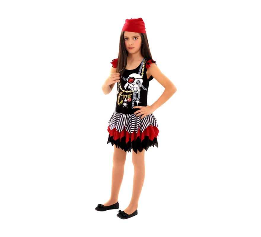 Disfraz barato de Pirata Calavera para niñas de 7 a 9 años