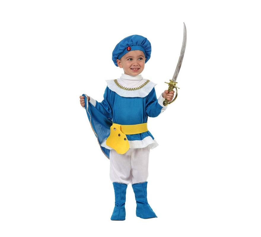 Disfraz de Principe Azul para niños de 3 a 4 años. Incluye camisa con capa, pantalón, cubrebotas, sombrero y cinturón.