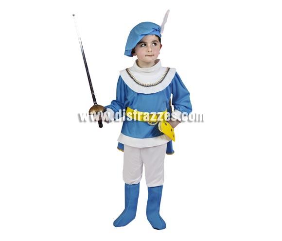 Disfraz de Príncipe talla de 3 a 4 años. Espada NO incluida podrás verla en la sección de Complementos. Este disfraz tiene un color azul turquesa.