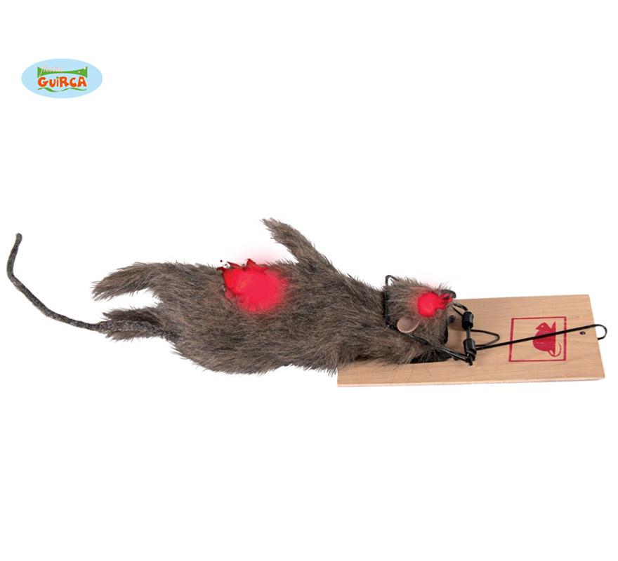 Rata con cepo para decoración de Halloween.