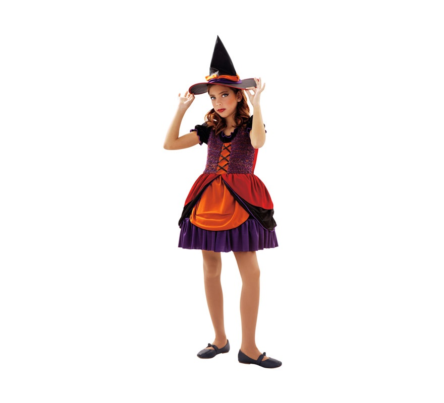 Disfraz de Bruja o Brujita para niñas de 10 a 12 años. Incluye vestido y sombrero.